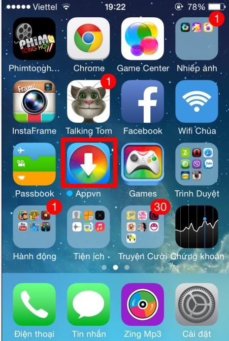 icon Appvn trên iPhone 5s