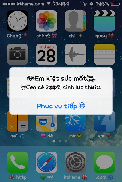 Đổi chữ pin yếu trên iPhone 5S