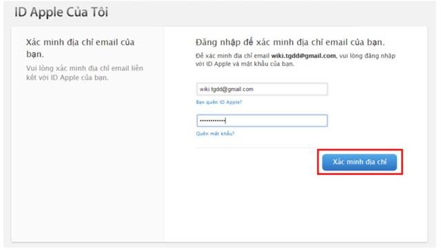 Xác nhận thông tin trong Email