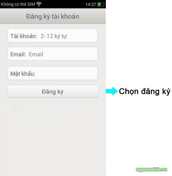Đăng ký tài khoản Find My Phone trên Oppo Find