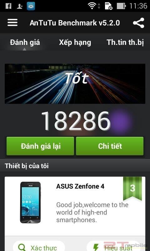Antutu hỗ trợ chấm điểm cấu hình Asus Zenfone