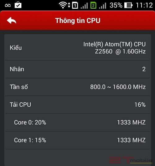 Phần mềm CPU-Z test cấu hình cho Asus Zenfone