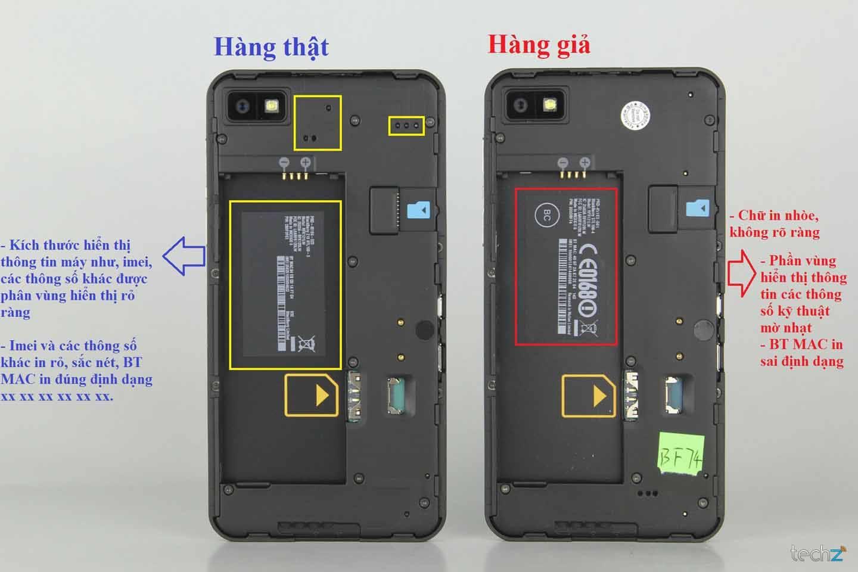 Phân biệt phần trong nắp lưng Blackberry Q10