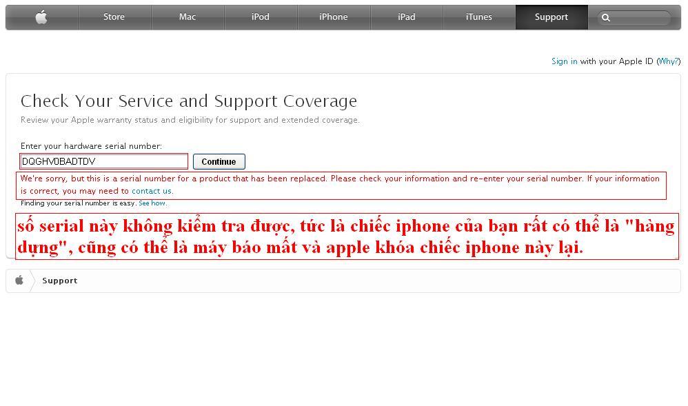 Cách kiểm tra imei iphone 4s trên trang apple