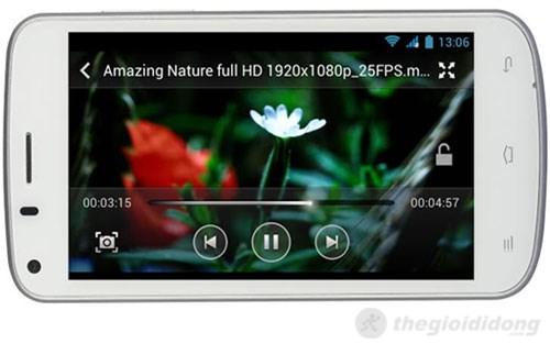 Trên Gionee p3 người dùng có thể xem phim HD mượt mà với bộ vi xử lý 4 nhân