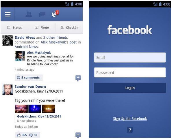 Giao diện đăng nhập face book