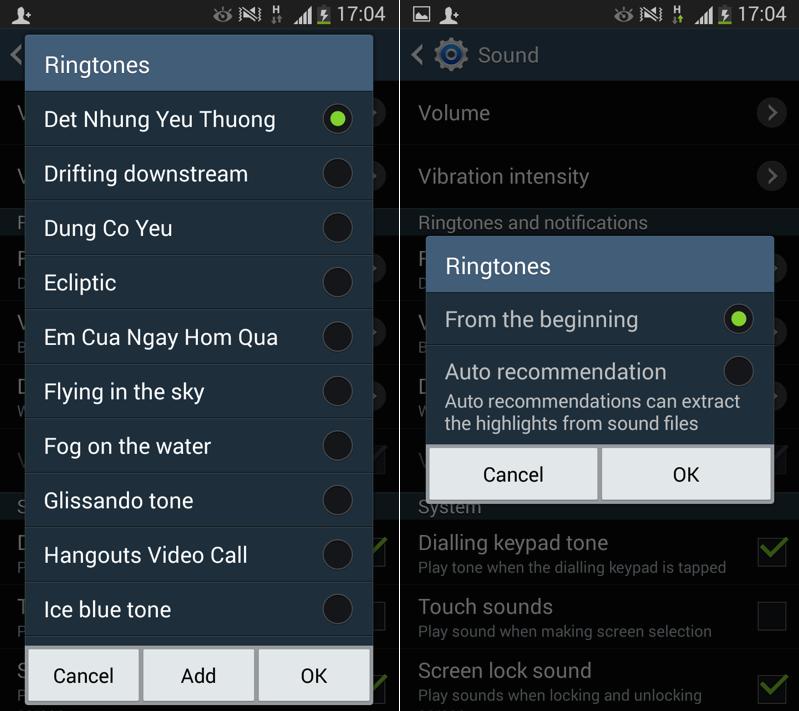 Giao diện hiển thị các bài nhạc chuông trong Ringtone để bạn lựa chọn